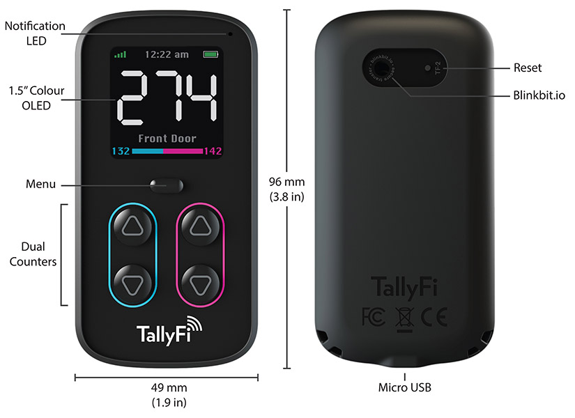 Dimensioned TallyFi Counter